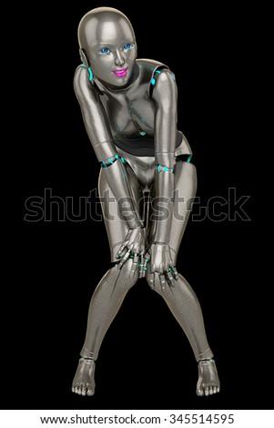 robot girl innocence - stock photo