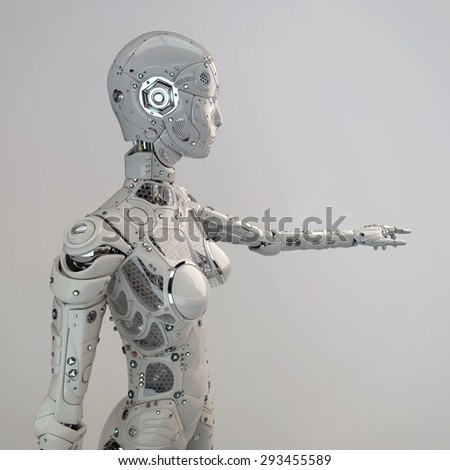 Robot girl points finger - stock photo