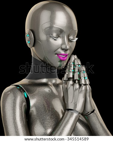 robot girl praying close up - stock photo