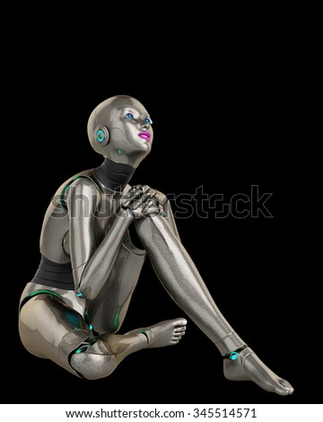 robot girl thinking about 2 - stock photo