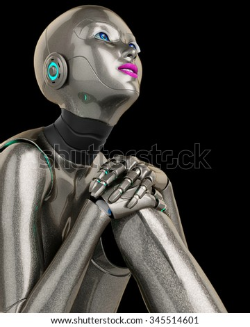 robot girl thinking cabout close up - stock photo