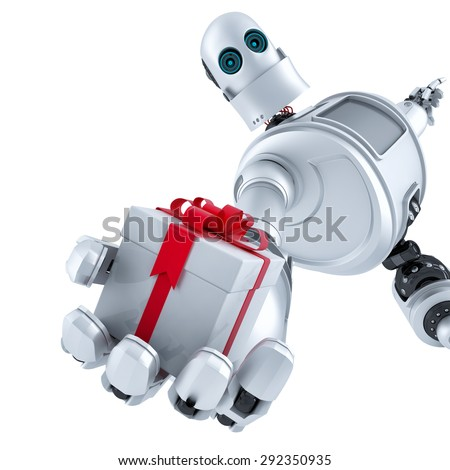 Robot giving a gift box. Isolated over white. Contains clipping path - stock photo