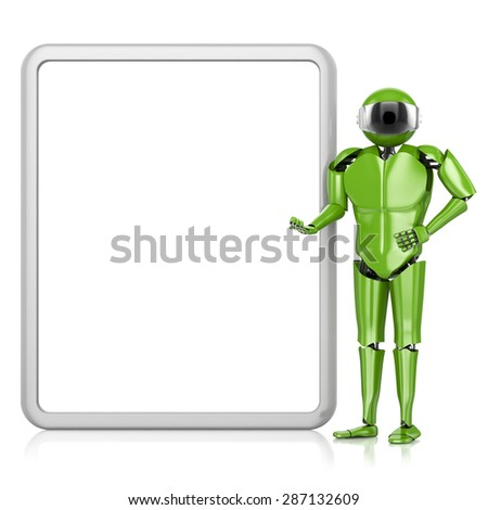 Robot green plastic near the tablet advertising isolated on a white background .