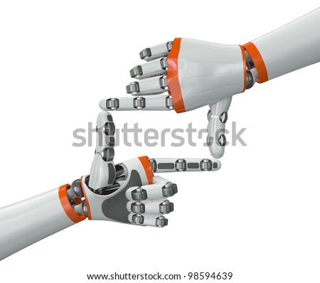 Robot hand doing a framing gesture - stock photo