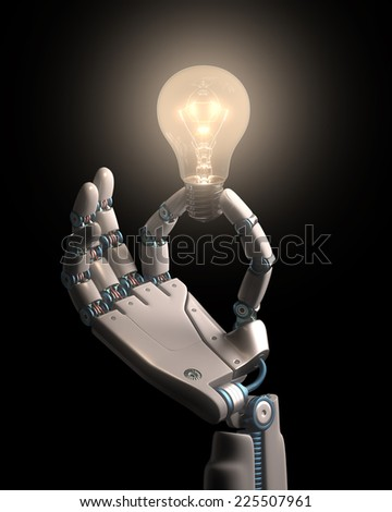 Robot hand holding a bulb on a conceptual idea technology. Clipping path included.  - stock photo