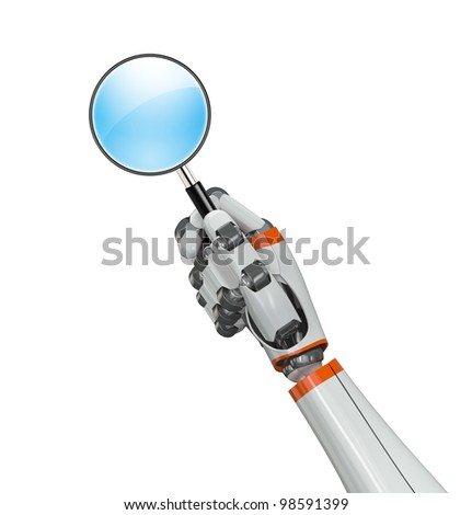 Robot hand holding a magnifying glass - stock photo