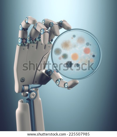 Robot hand holding a petri dish with colonies of bacteria and fungi. Clipping path included. - stock photo