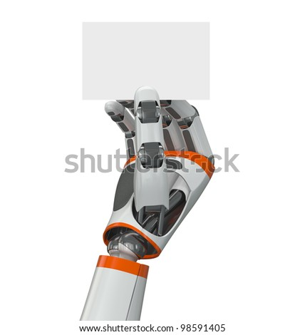 Robot hand holding an empty business card - stock photo