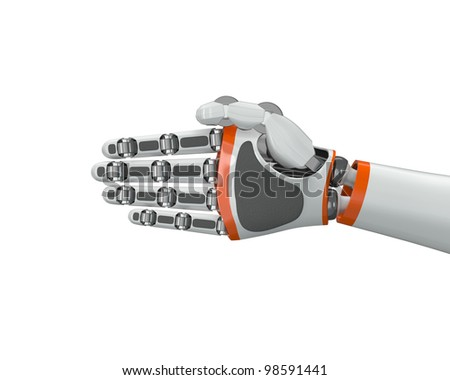 Robot hand holding an imaginary object - stock photo