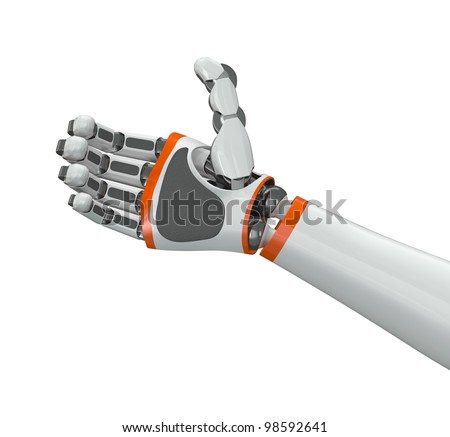 Robot hand holding imaginary object - stock photo