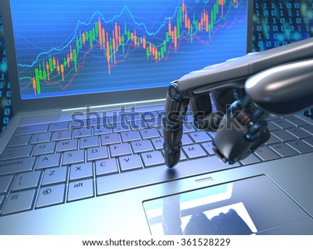 Robot hand, ordering on a laptop keyboard, an exchange trade. Robot trading system is a computer trading program that automatically submits trades to an exchange without any human interventions. - stock photo