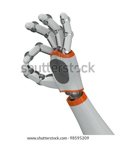 Robot hand showing OK gesture - stock photo