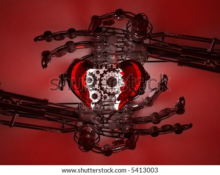 Robot hands show mechanical heart 3d isolated on red background