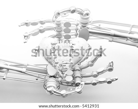 Robot hands show mechanical heart 3d isolated on white background