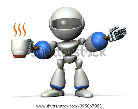 Robot has a greeting while having a cup of coffee in one hand. computer generated image - stock photo