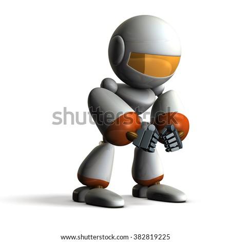 Robot has fallen into paranoia. computer generated image - stock photo