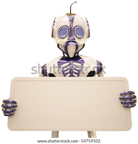 robot holding a billboard. with clipping path. - stock photo