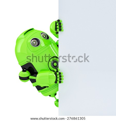 Robot holding a blank banner with copyspace. Isolated on white. Contains clipping path - stock photo