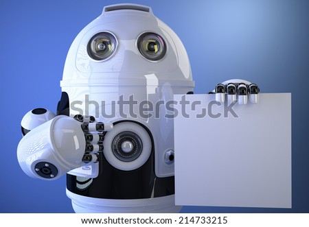 Robot holding a blank board for text or advertising. Isolated on white. Contains clipping path - stock photo
