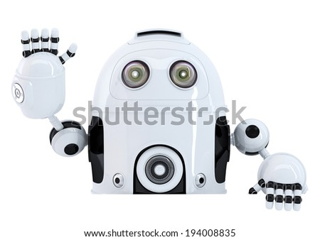Robot holding blank banner and waving hello. Isolated on white. Contains clipping path - stock photo