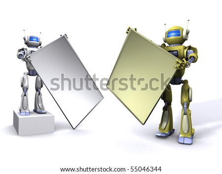 Robot holding empty billboard - stock photo