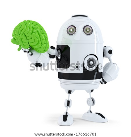 Robot holding green brain. Technology concept. Isolated over white