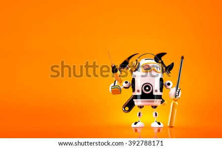 Robot holding tools. Technology concept. Contains clipping path. - stock photo