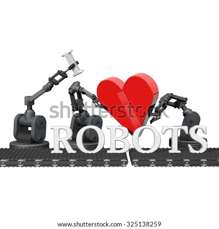 Robot in line with red heart - love for technology - stock photo
