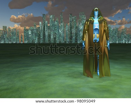 Robot in robe before city - stock photo