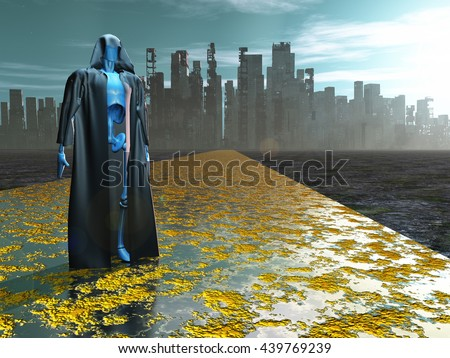 Robot in robe before city 3D Render - stock photo