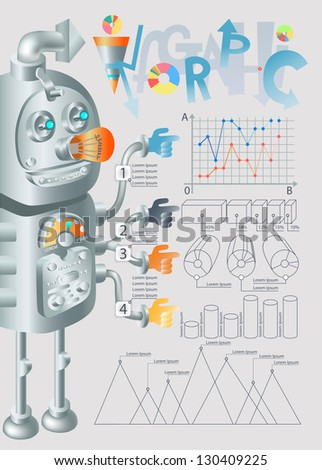 robot infographic design, raster version - stock photo
