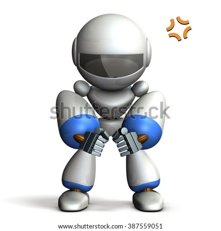Robot is glaring because angry. computer generated image - stock photo