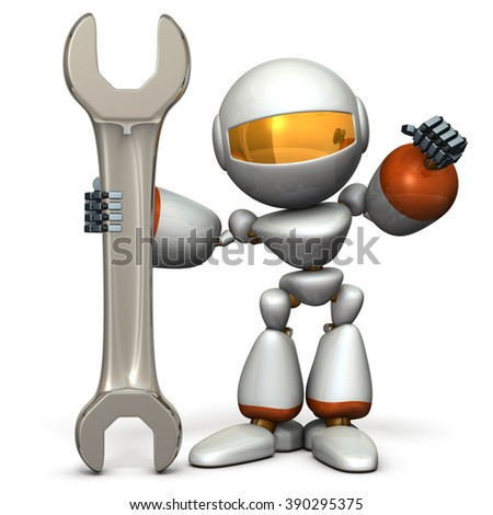 Robot is having a big tool. It is a symbol of technical capabilities. computer generated image - stock photo