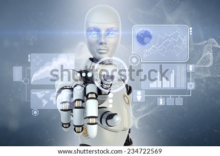 Robot is working with touchscreen - stock photo