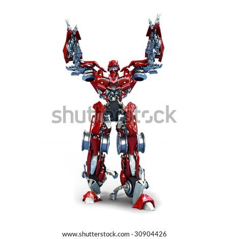 robot isolated on white background - stock photo