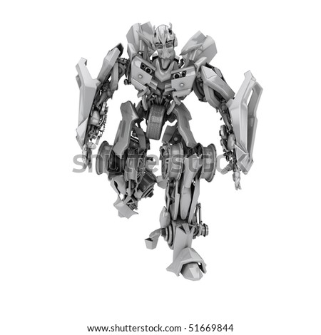 Robot isolated on white background. 3d render - stock photo