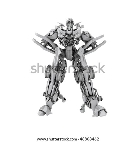 Robot isolated on white background. 3d rendered - stock photo