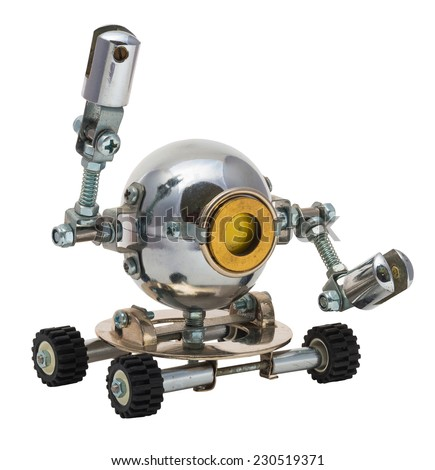 Robot isolated on white. Cyberpunk style. Bronze and steel parts. Retro. Hand up. - stock photo