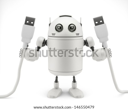 Robot keep in hand a usb cable - stock photo