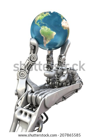Robot keep the blue globe. Planet Earth in hands at high technology. Conceptual 3d illustration. Elements of this image are furnished by NASA  - stock photo