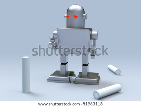 robot kid red eye and Batteries on gray background. Isolated 3d model