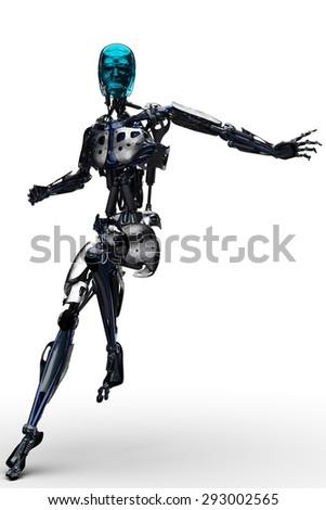 robot landing - stock photo