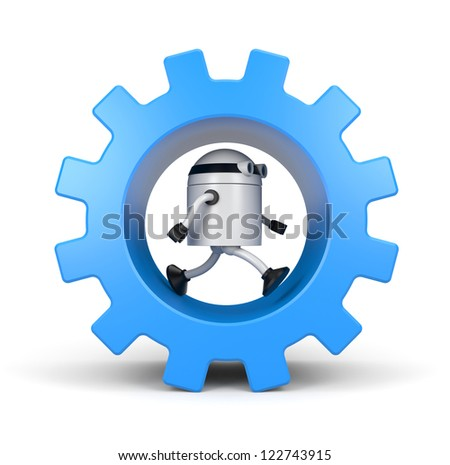 Robot leaning on a gear - stock photo