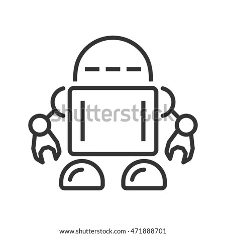 Robot line icon. Raster version