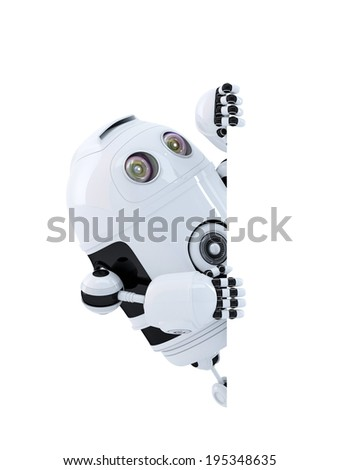 Robot looking at blank banner. Isolated on white. Contains clipping path - stock photo