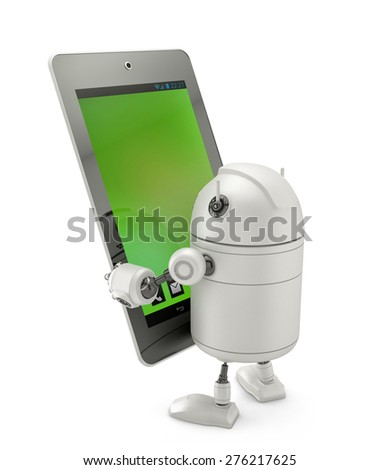 Robot looking at huge tablet computer. Isolated on white - stock photo