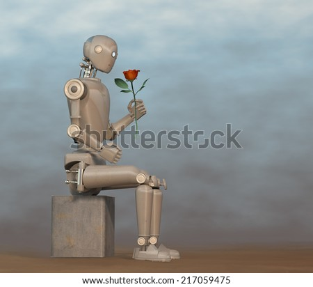 Robot looking at red rose - stock photo