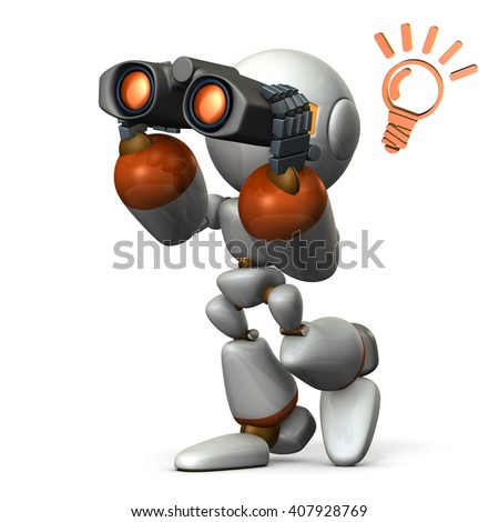 Robot, looking for something with binoculars. 3D illustration, - stock photo