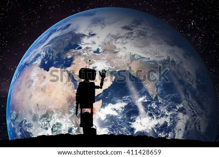 Robot looking on the planet Earth from space. Future technology concept, artificial intelligence. 3D rendering. Elements of this image furnished by NASA  - stock photo