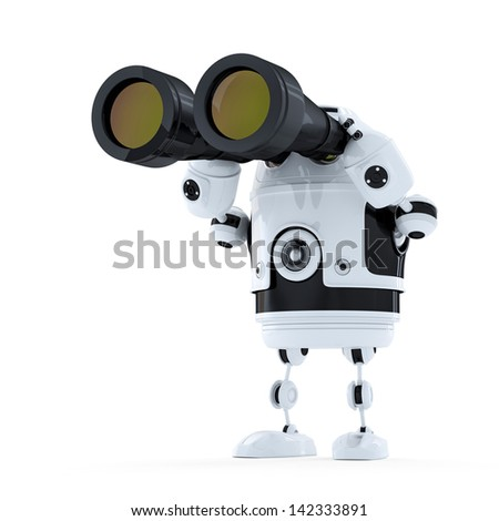 Robot looking through binoculars. Searching concept. Isolated - stock photo